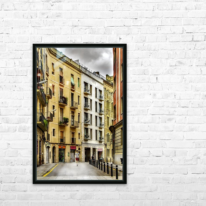 Barcelona Street HD Sublimation Metal print with Decorating Float Frame (BOX)