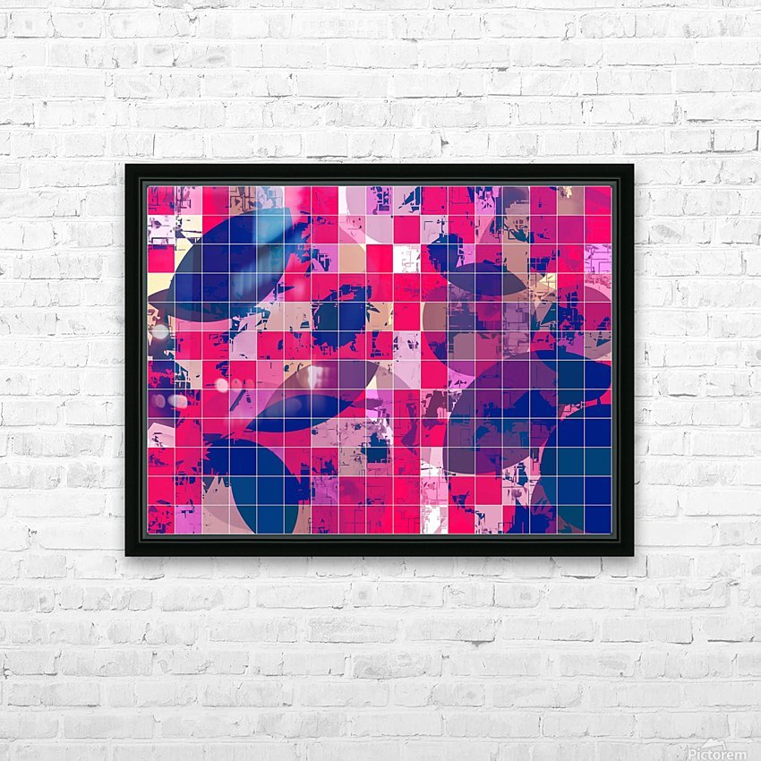 geometric square and circle pattern abstract background in red pink blue HD Sublimation Metal print with Decorating Float Frame (BOX)