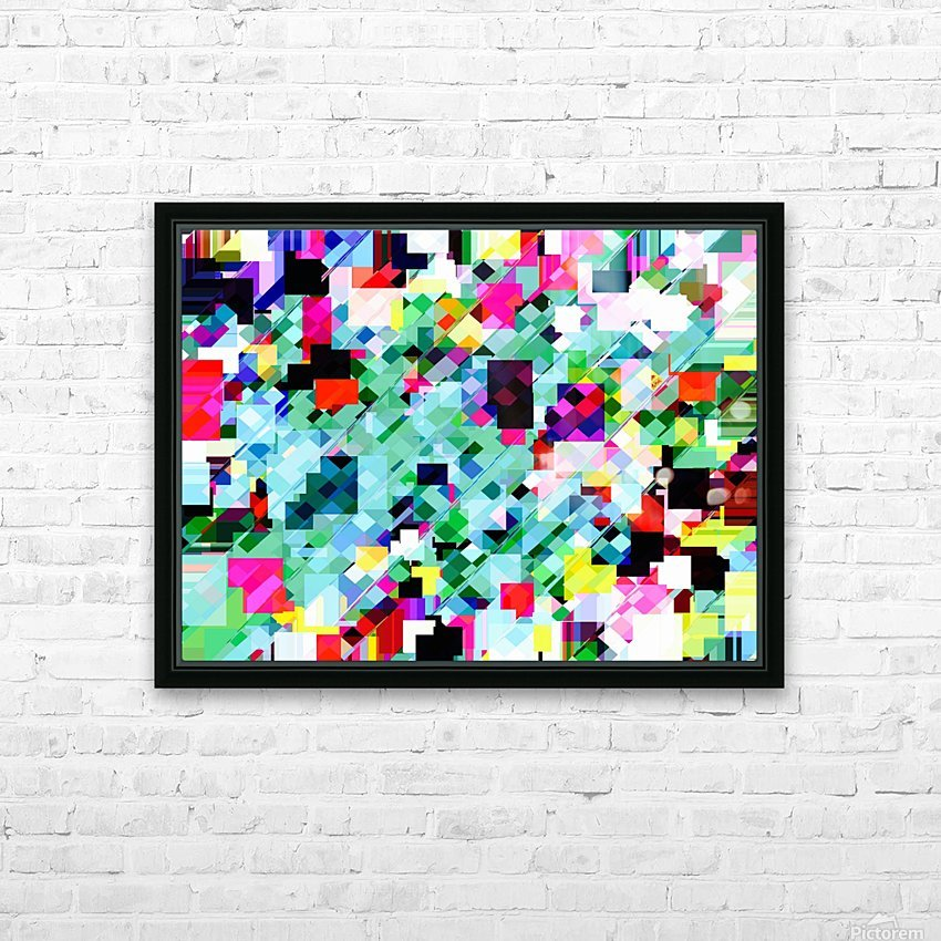 geometric square pixel pattern abstract in green pink blue yellow HD Sublimation Metal print with Decorating Float Frame (BOX)