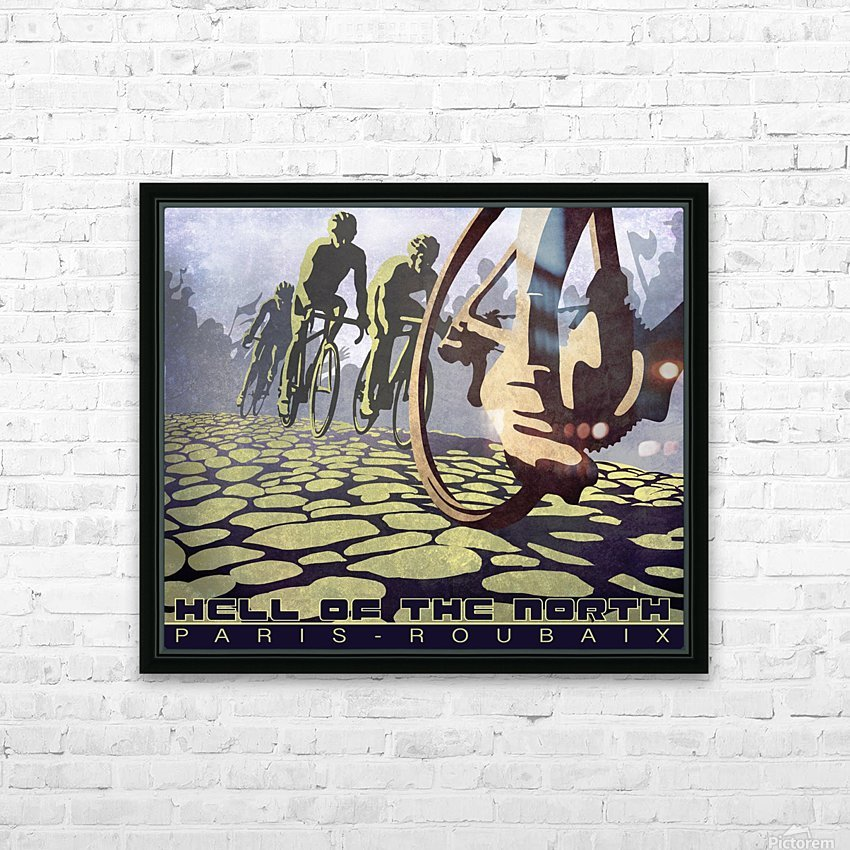 Paris Roubaix retro cycling poster HD Sublimation Metal print with Decorating Float Frame (BOX)