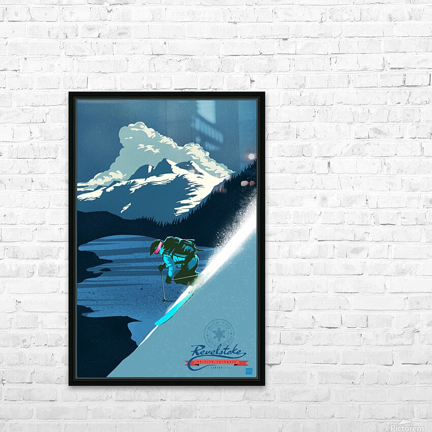 Retro Ski Poster HD Sublimation Metal print with Decorating Float Frame (BOX)
