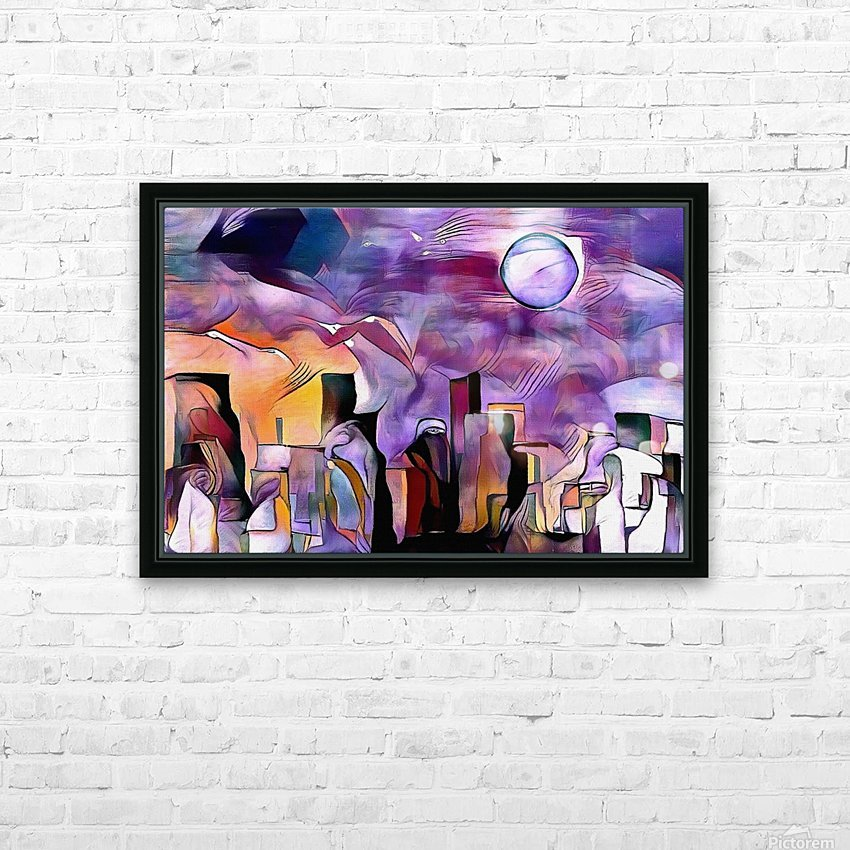 Colorful City Silhouettes HD Sublimation Metal print with Decorating Float Frame (BOX)