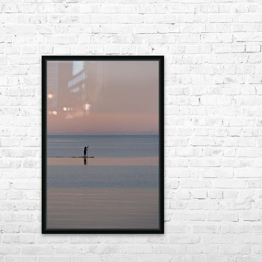 Evening paddleboarder HD sublimation métal imprimé avec décoration flotteur cadre (boîte)