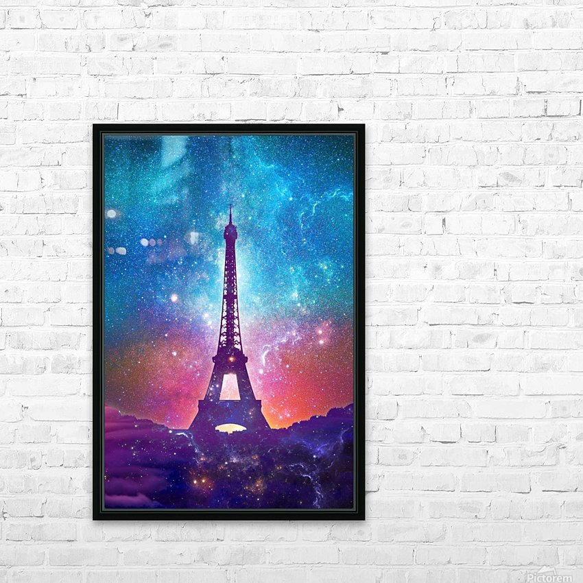 Eiffel Tower - Milky Way Collage HD Sublimation Metal print with Decorating Float Frame (BOX)