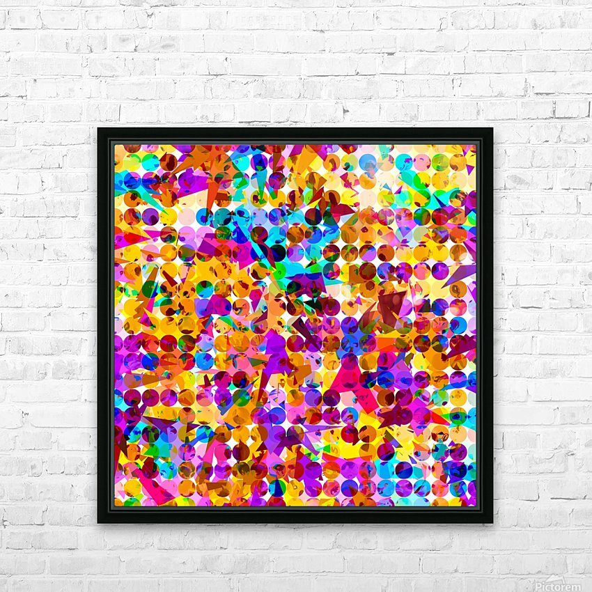 geometric circle and triangle pattern abstract in orange blue pink purple HD Sublimation Metal print with Decorating Float Frame (BOX)