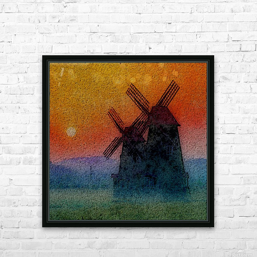 SUNDOWN ON WINDMILLS HD Sublimation Metal print with Decorating Float Frame (BOX)