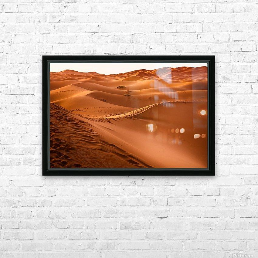 desert, morocco, sand dune, dry, landscape, dunes, sahara, gobi desert, HD Sublimation Metal print with Decorating Float Frame (BOX)