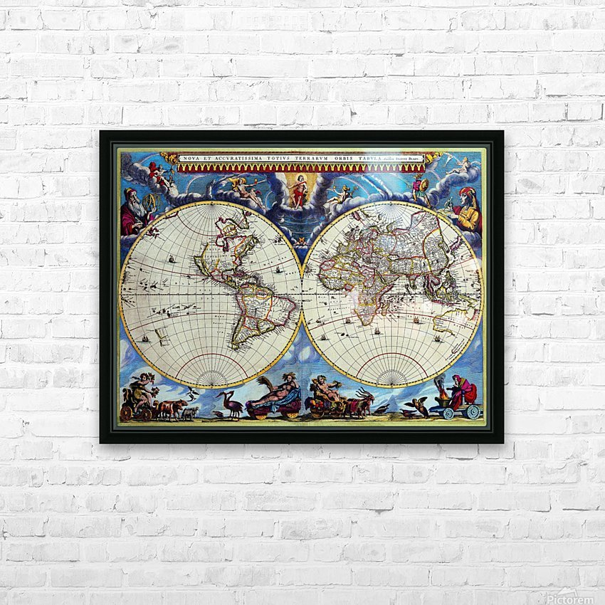 Antique map old map history globe earth maps historical map drawing old map of the world  HD Sublimation Metal print with Decorating Float Frame (BOX)