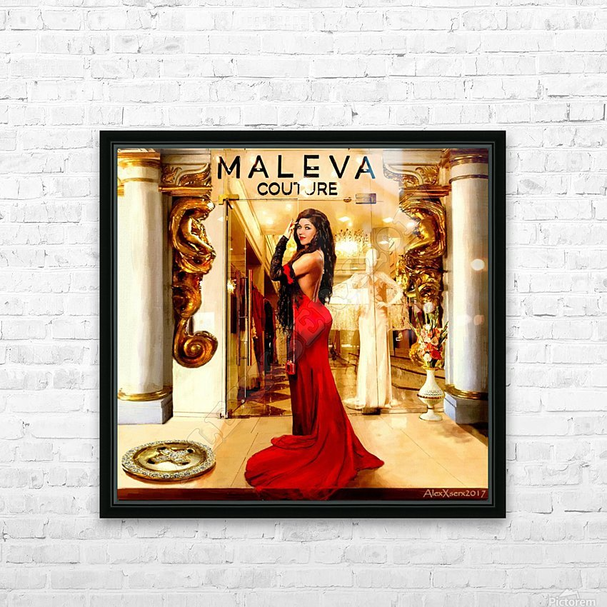 Golden button HD Sublimation Metal print with Decorating Float Frame (BOX)
