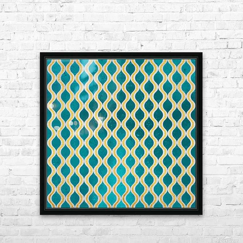 Gold - Turquoise pattern I HD Sublimation Metal print with Decorating Float Frame (BOX)