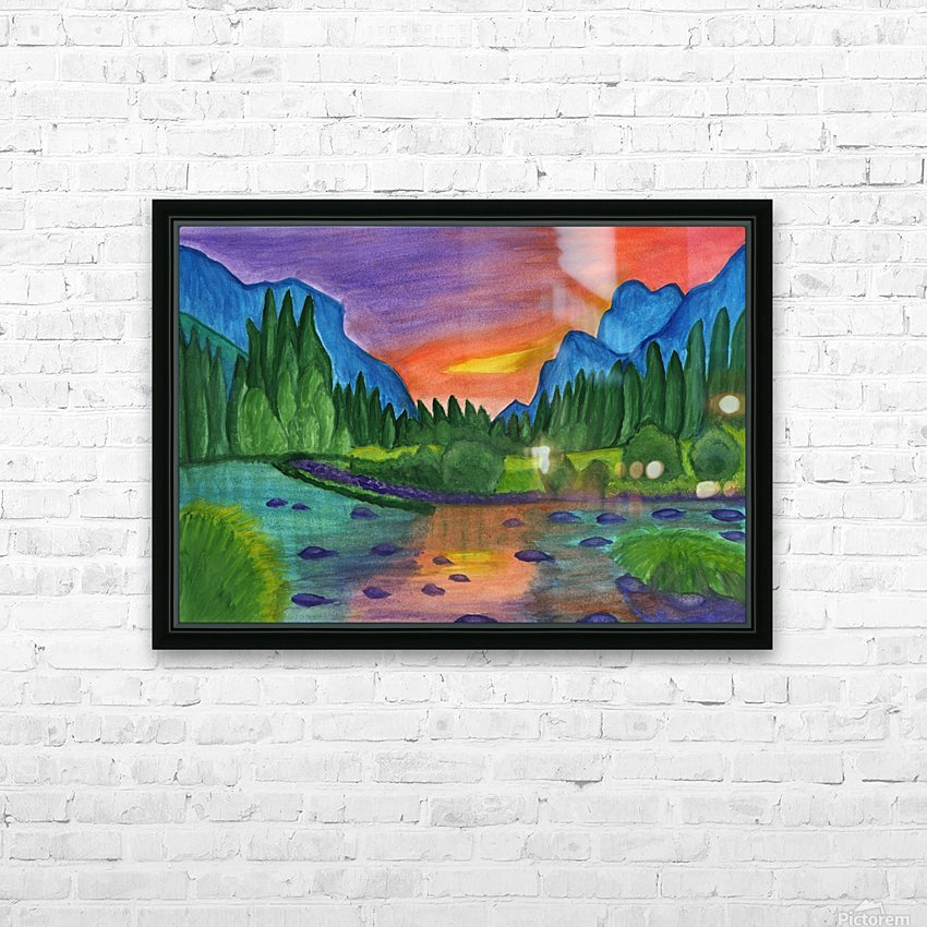 Mountain river in the background of the forest and the blue mountains at sunset HD Sublimation Metal print with Decorating Float Frame (BOX)