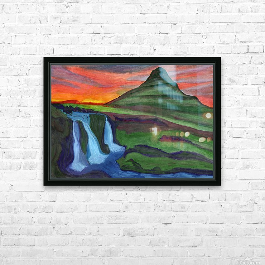 Mountain And Waterfall In The Rays Of The Setting Sun HD Sublimation Metal print with Decorating Float Frame (BOX)