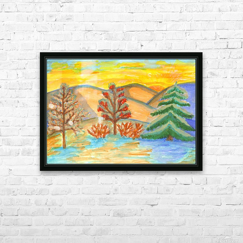 Winter landscape at sunset HD Sublimation Metal print with Decorating Float Frame (BOX)