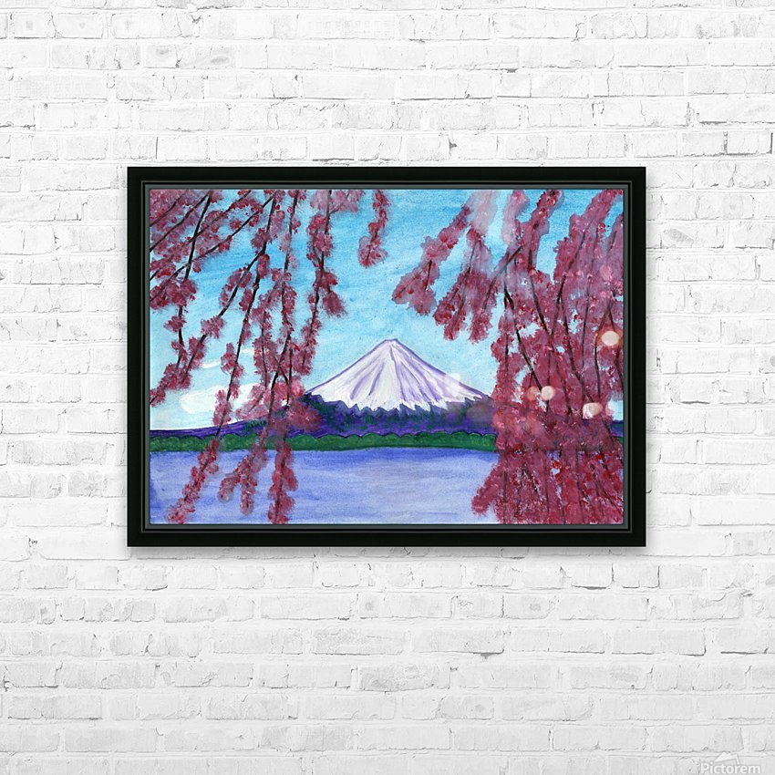 Sakura blooming on the background of a snowy mountain HD Sublimation Metal print with Decorating Float Frame (BOX)