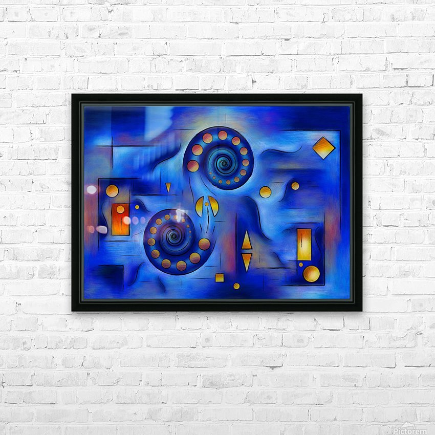 Grefenorium - blue spiral world HD Sublimation Metal print with Decorating Float Frame (BOX)