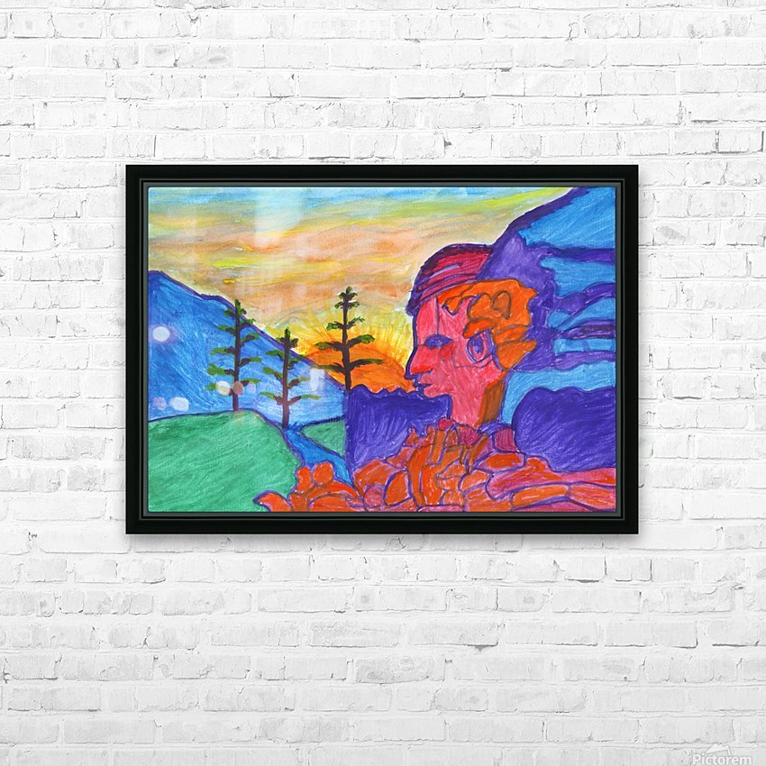Mystical rock with a profile at sunrise HD Sublimation Metal print with Decorating Float Frame (BOX)