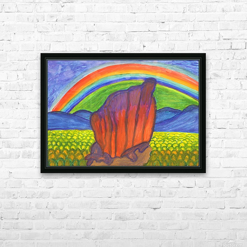 Mystical rock under the rainbow HD Sublimation Metal print with Decorating Float Frame (BOX)