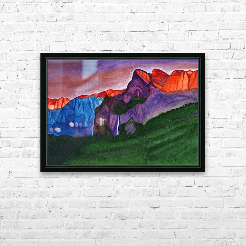 Snowy peaks of the mountains with a waterfall lit up by the orange dawn HD Sublimation Metal print with Decorating Float Frame (BOX)
