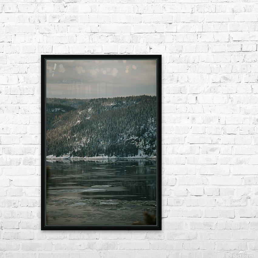 Le fjord du Saguenay en hiver HD sublimation métal imprimé avec décoration flotteur cadre (boîte)