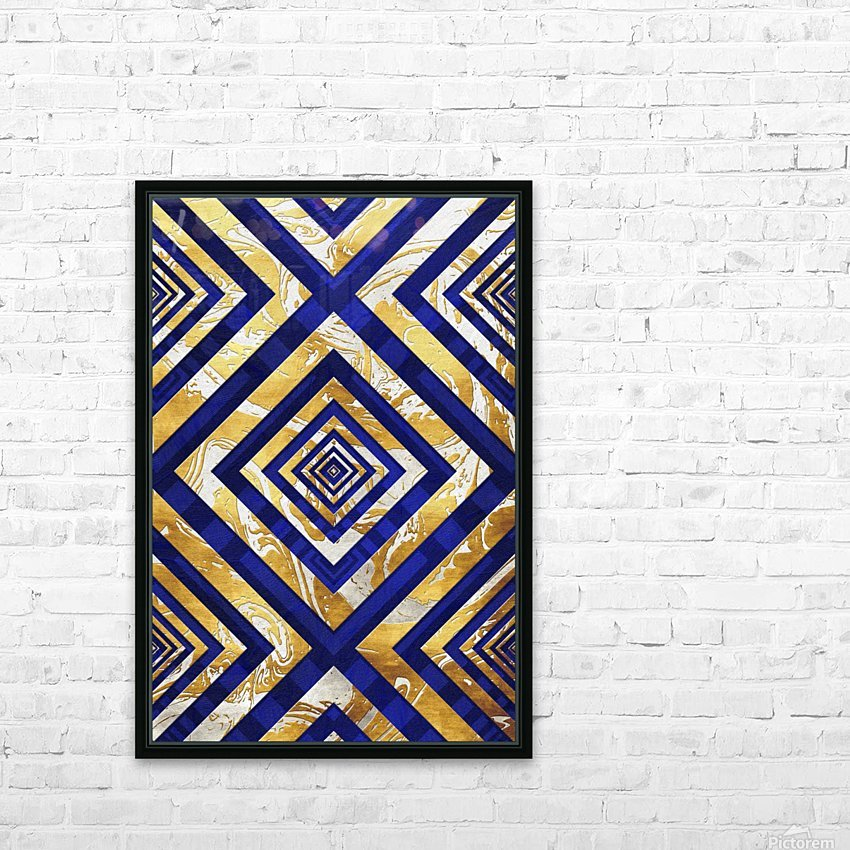 Geometric Gold Dark Blue Marble HD Sublimation Metal print with Decorating Float Frame (BOX)