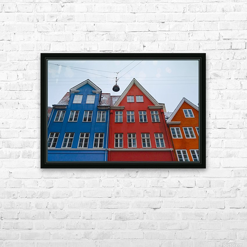 The red and blue house in Copenhagen HD Sublimation Metal print with Decorating Float Frame (BOX)