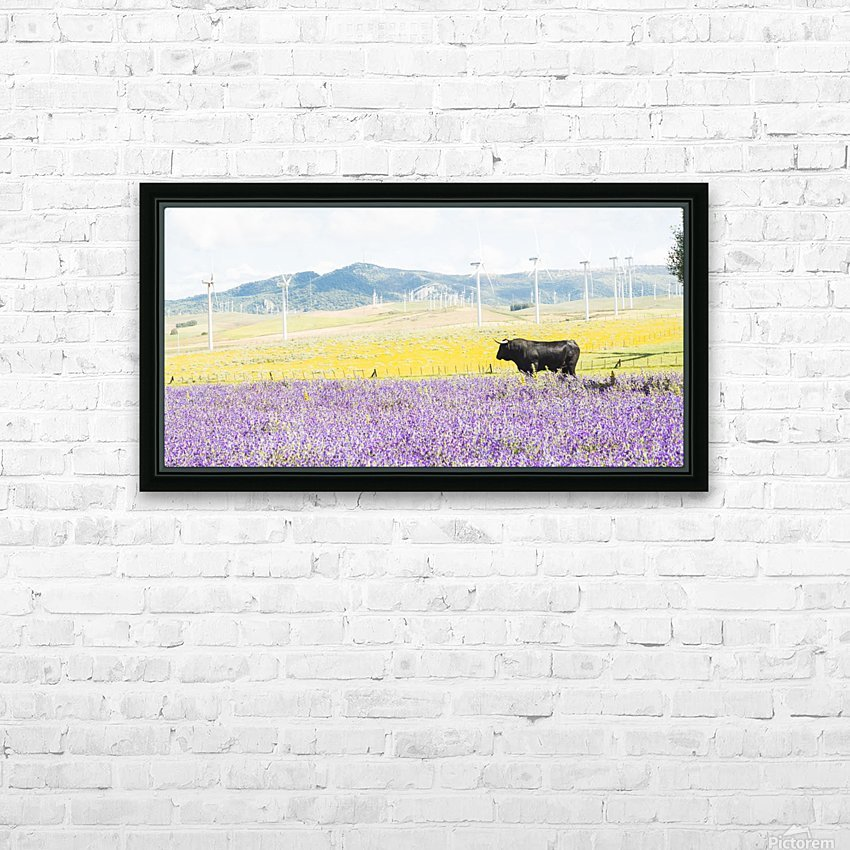 BULL AMONGST FLOWERS HD Sublimation Metal print with Decorating Float Frame (BOX)