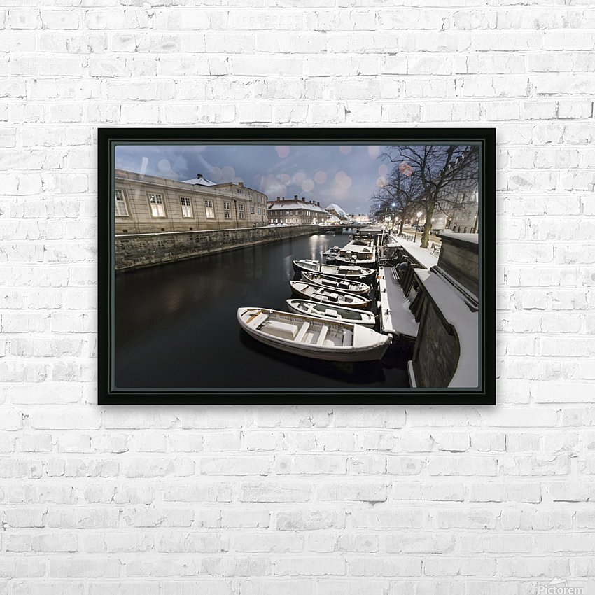 First snow in Copenhagen canal HD Sublimation Metal print with Decorating Float Frame (BOX)