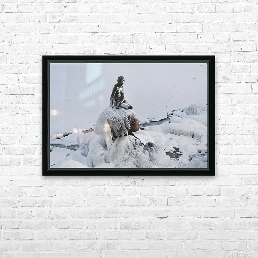 Frozen canal near statue of The Little Mermaid  HD Sublimation Metal print with Decorating Float Frame (BOX)