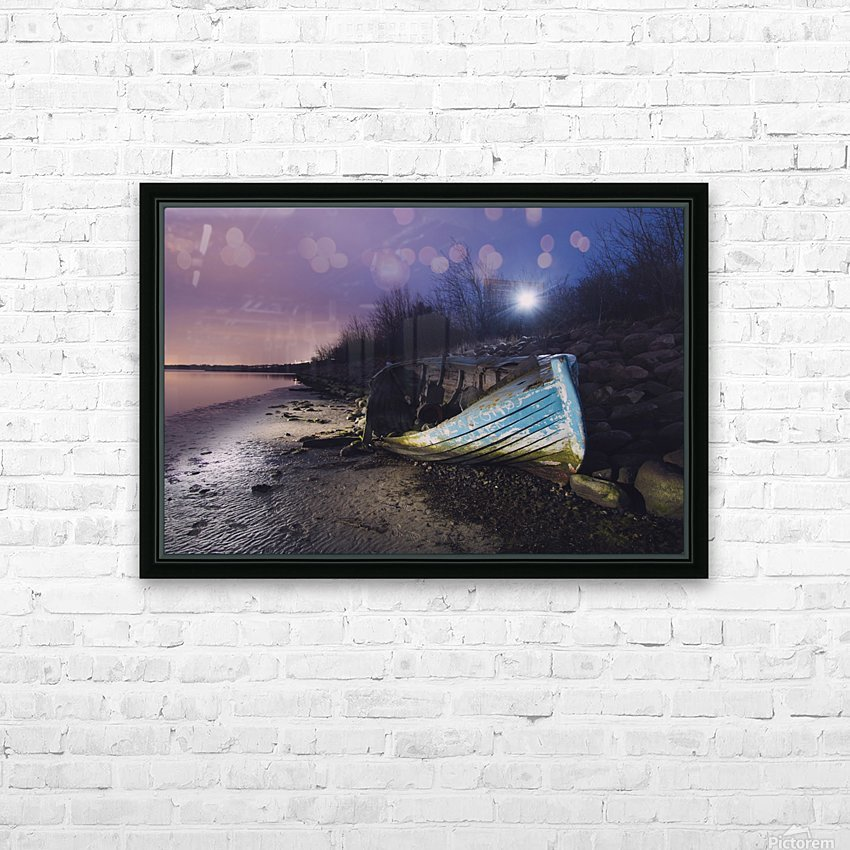 Old boat on Copenhagen shore at night  HD Sublimation Metal print with Decorating Float Frame (BOX)