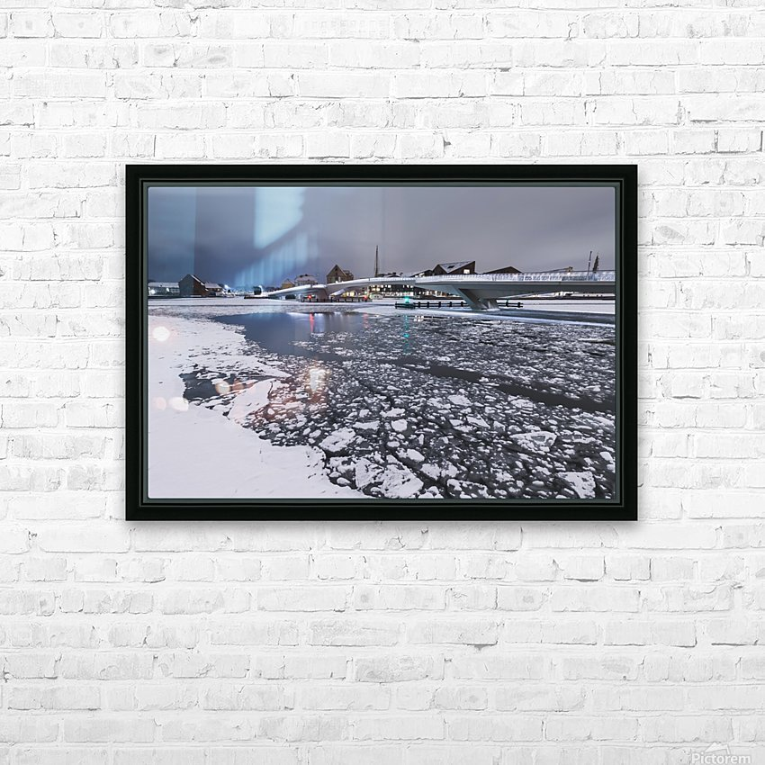 Frozen canal near Inderhavnsbroen bridge HD Sublimation Metal print with Decorating Float Frame (BOX)