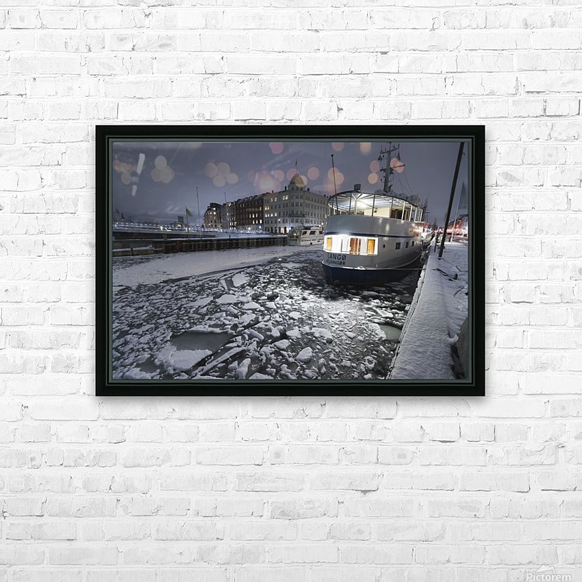 Frozen Nyhavn canal in winter HD Sublimation Metal print with Decorating Float Frame (BOX)