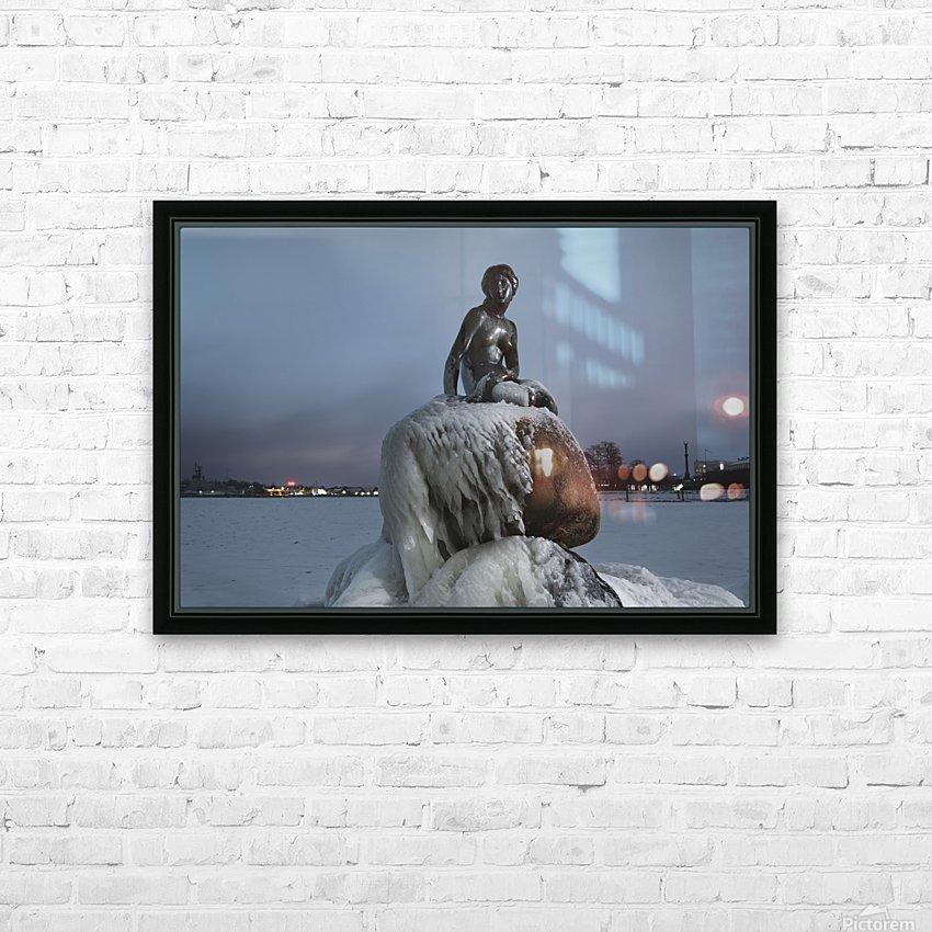 Frozen statue of The Little Mermaid HD Sublimation Metal print with Decorating Float Frame (BOX)