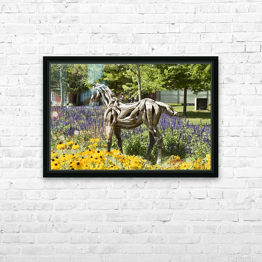 Odyssey the horse and Hope the Colt sculptures made of driftwood by Heather Jansch. 2 HD Sublimation Metal print with Decorating Float Frame (BOX)