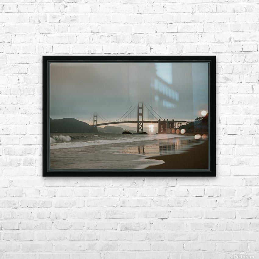 Golden Gate in the smog HD sublimation métal imprimé avec décoration flotteur cadre (boîte)