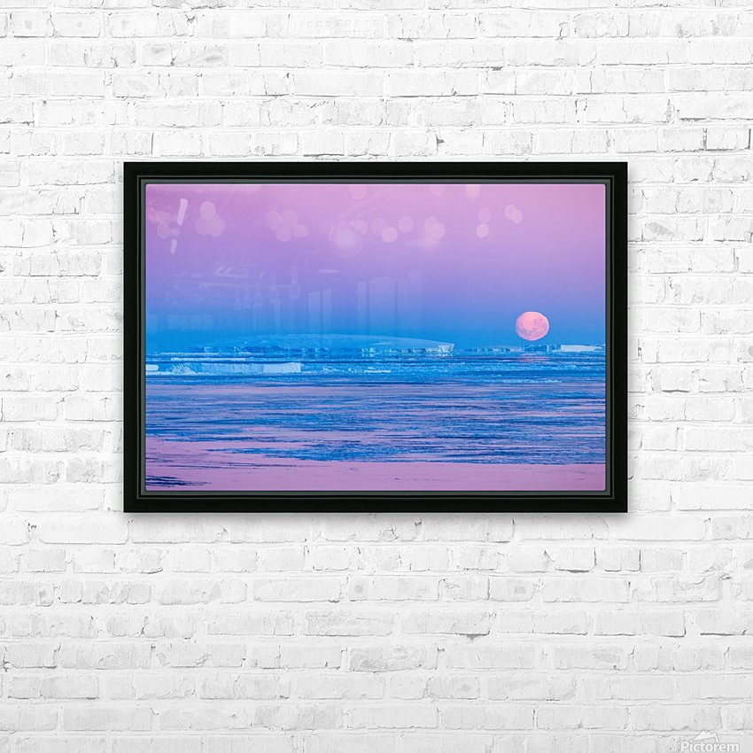 Low Moonset Close Up HD Sublimation Metal print with Decorating Float Frame (BOX)
