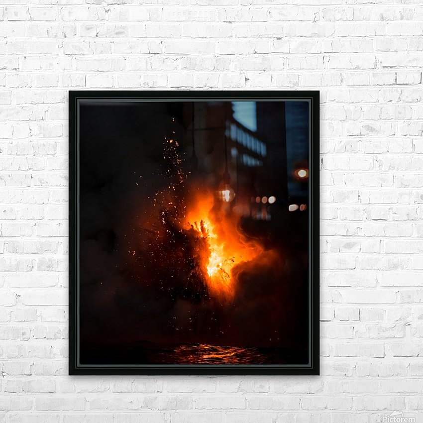 Lava explosion HD Sublimation Metal print with Decorating Float Frame (BOX)