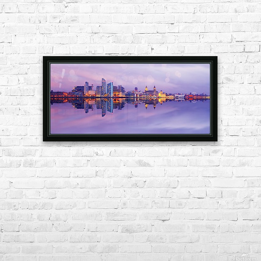 LIV 007 Liverpool Skyline   PANORAMIC HD Sublimation Metal print with Decorating Float Frame (BOX)