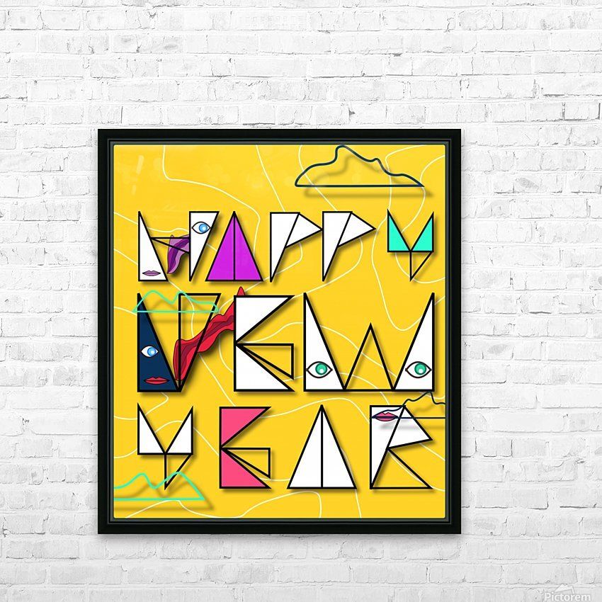 Happy New Year HD Sublimation Metal print with Decorating Float Frame (BOX)