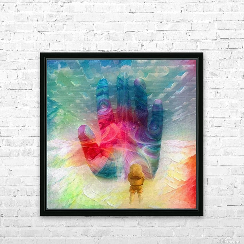 Astronaut Before Human Palm HD Sublimation Metal print with Decorating Float Frame (BOX)