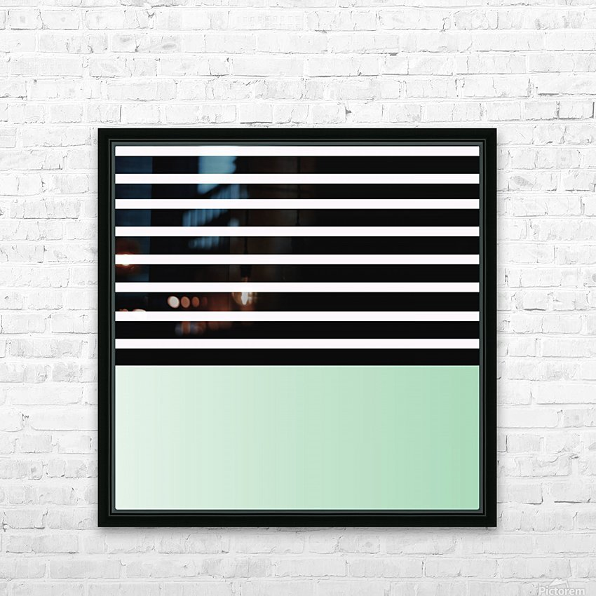 Black & White Stripes with Green Patch HD Sublimation Metal print with Decorating Float Frame (BOX)