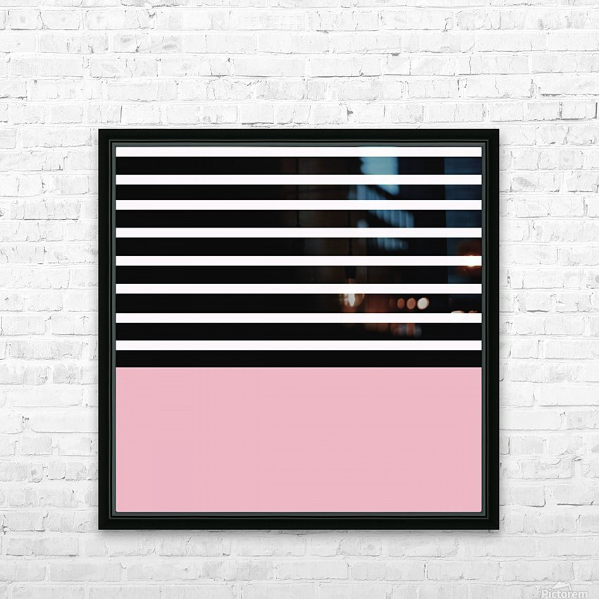 Black & White Stripes with Beauty Bush Patch HD Sublimation Metal print with Decorating Float Frame (BOX)