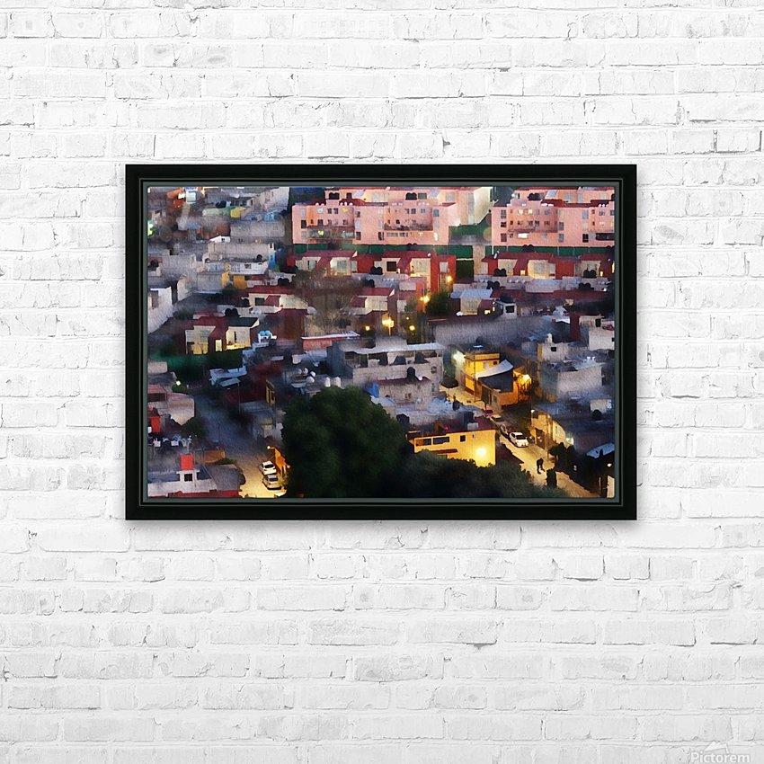 Town rendering HD Sublimation Metal print with Decorating Float Frame (BOX)