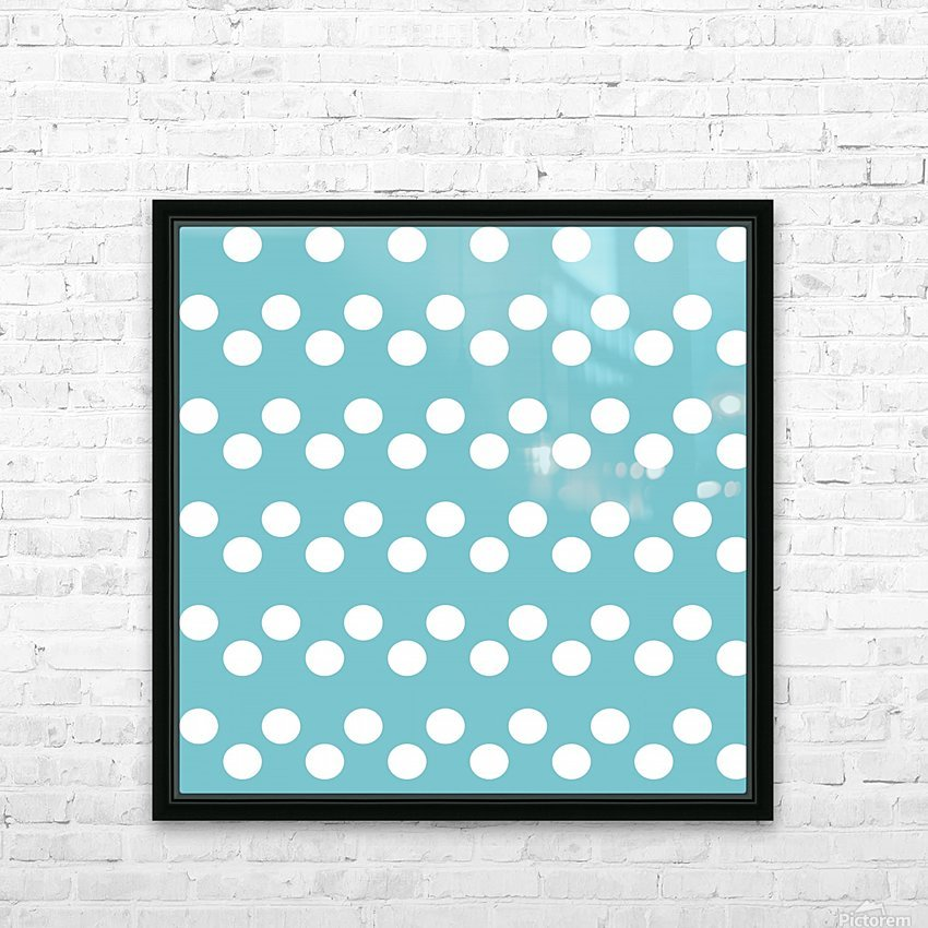 CADET BLUE Polka Dots HD Sublimation Metal print with Decorating Float Frame (BOX)