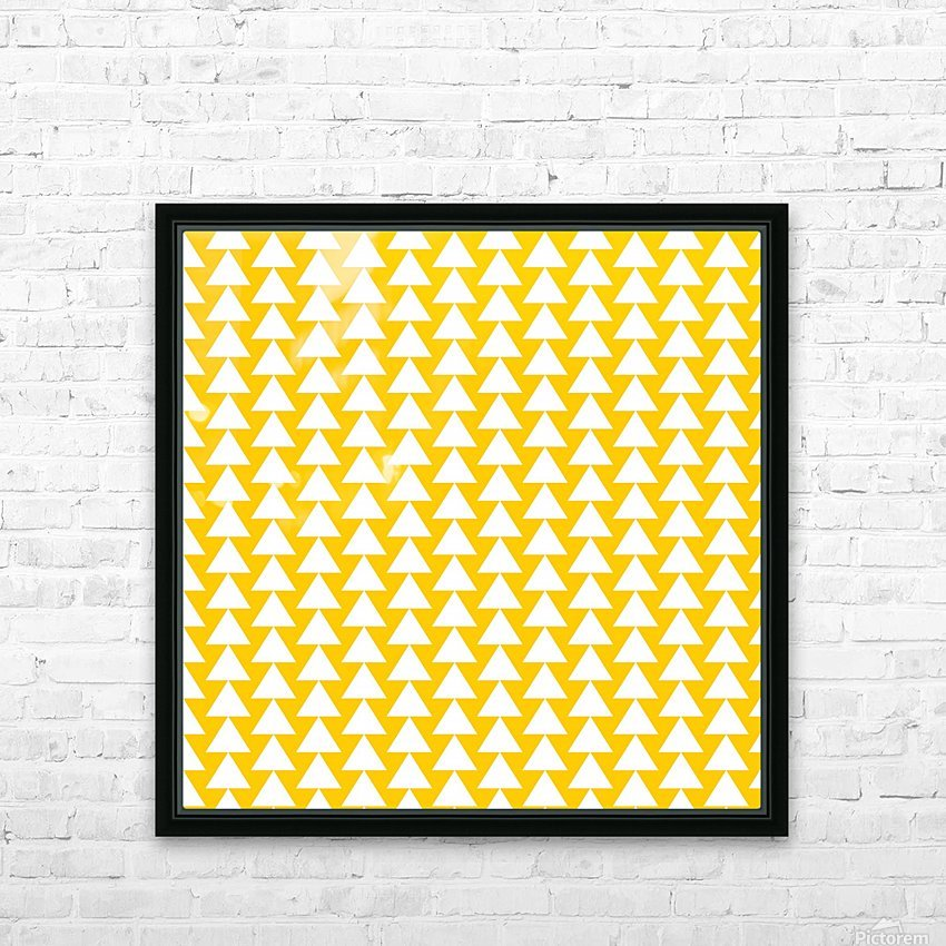 Yellow  White triangle HD Sublimation Metal print with Decorating Float Frame (BOX)