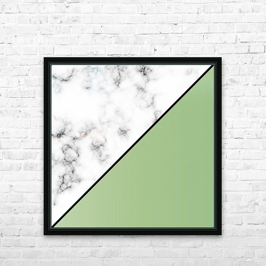 ABSTRACT MODERN YELLOW GREEN MARBLE HD Sublimation Metal print with Decorating Float Frame (BOX)