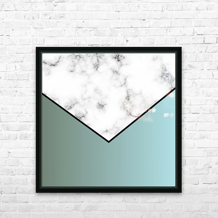 ABSTRACT GRAYISH BLUE MODERN MARBLE HD Sublimation Metal print with Decorating Float Frame (BOX)
