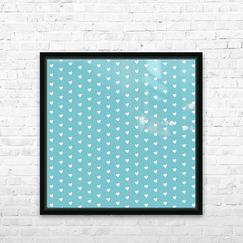 Cadet Blue Heart Shape Pattern HD Sublimation Metal print with Decorating Float Frame (BOX)