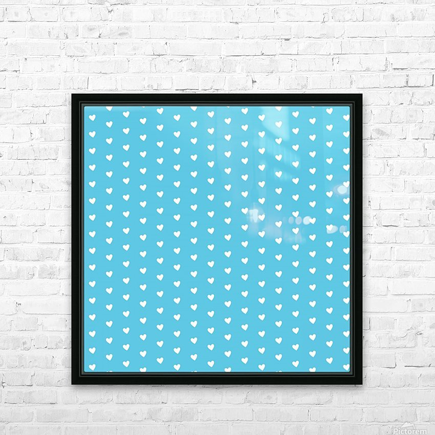AQUA Heart Shape Pattern HD Sublimation Metal print with Decorating Float Frame (BOX)