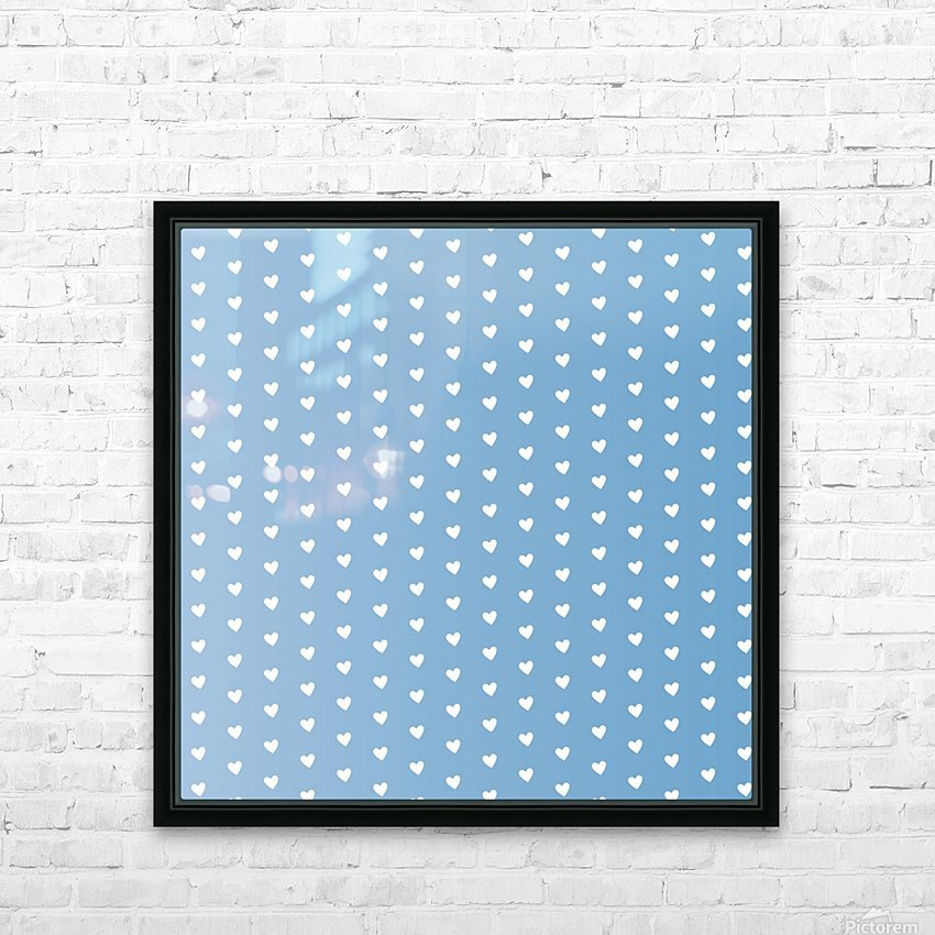 Blue Grey Heart Shape Pattern HD Sublimation Metal print with Decorating Float Frame (BOX)