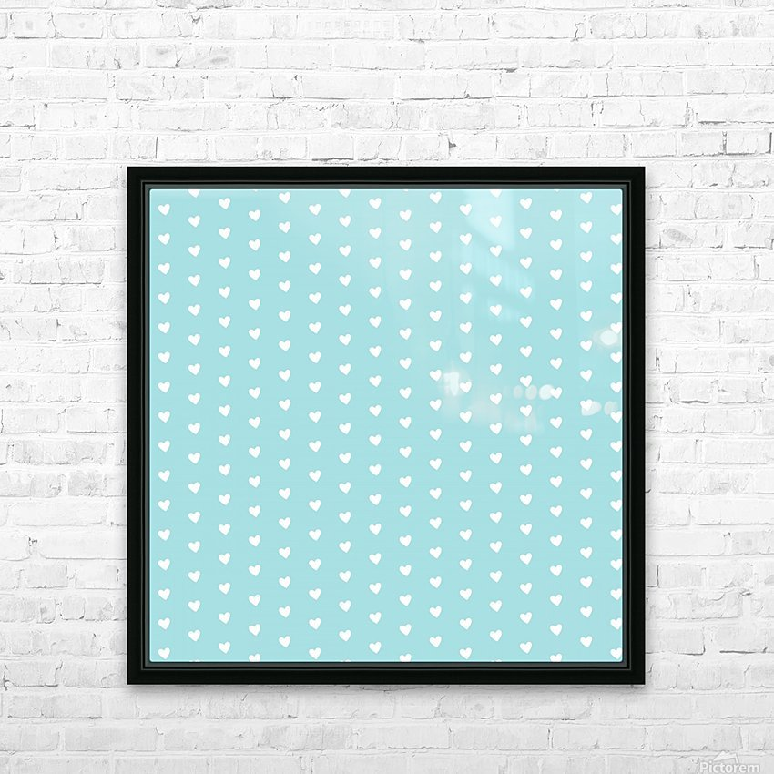 Light Blue Heart Shape Pattern HD Sublimation Metal print with Decorating Float Frame (BOX)